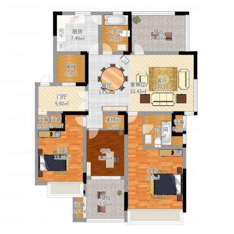 高成莱茵郡3室2厅2卫1厨149.00㎡户型图