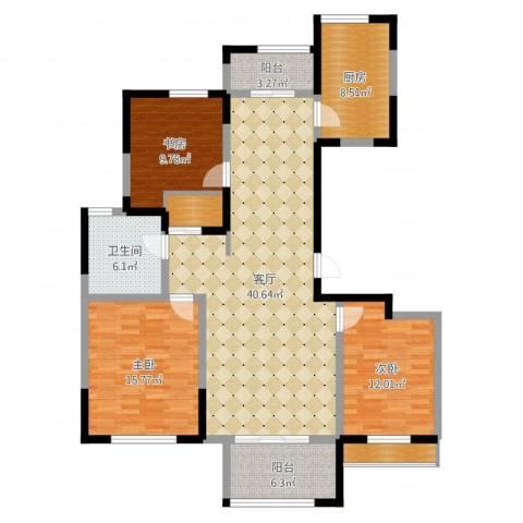 远洋香奈3室1厅1卫1厨133.00㎡户型图