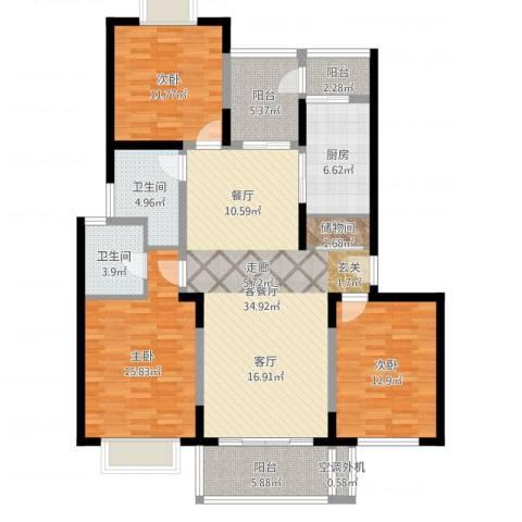 金沙嘉年华3室2厅2卫1厨133.00㎡户型图