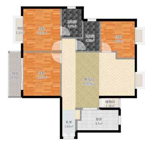 独墅苑3室1厅2卫1厨113.00㎡户型图