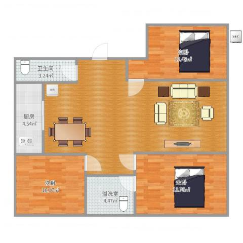 银河御府3室2厅1卫1厨107.00㎡户型图