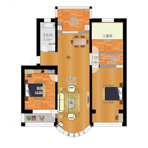 黄海小区3-4-52室2厅1卫1厨144.00㎡户型图