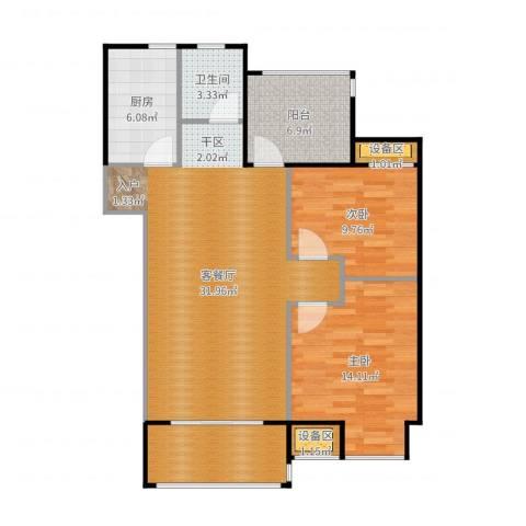 保利罗兰春天2室2厅4卫1厨101.00㎡户型图