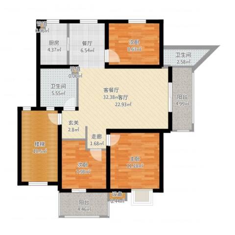竟达星河湾3室2厅2卫1厨117.00㎡户型图