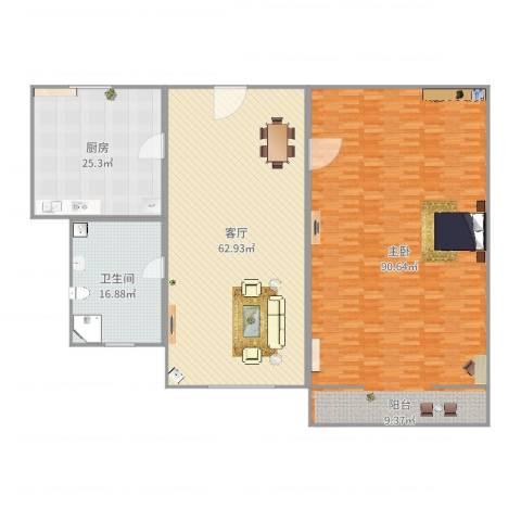 金桥新村四街坊1室1厅1卫1厨245.00㎡户型图
