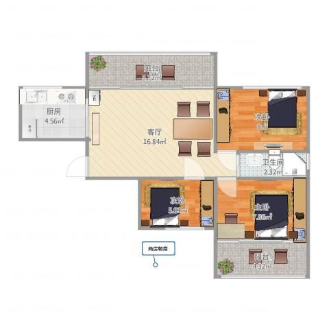 祥和人家3室1厅1卫1厨68.00㎡户型图