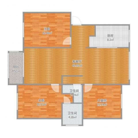 奉铭佳苑3室2厅2卫1厨136.00㎡户型图