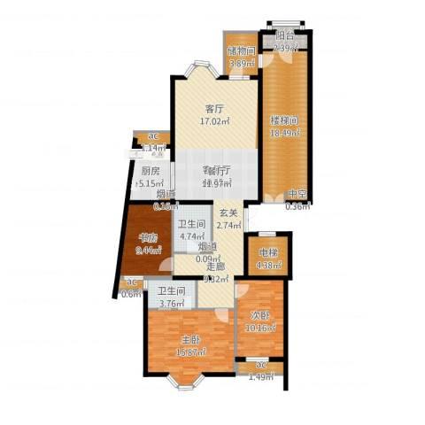 上京新航线3室2厅2卫1厨154.00㎡户型图
