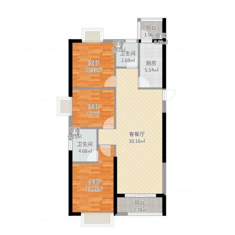恒大中心3室2厅2卫1厨100.00㎡户型图