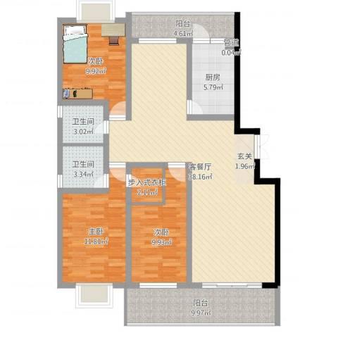 五洲花园3室2厅2卫1厨123.00㎡户型图