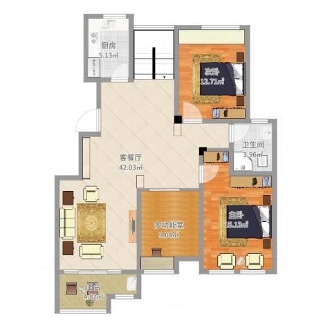 万成香格里拉2室2厅1卫1厨116.00㎡户型图
