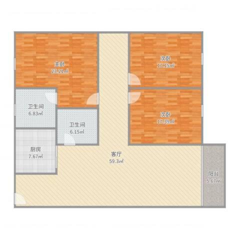 汇银城市花园3室1厅2卫1厨190.00㎡户型图