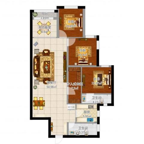 开发区万国公馆3室2厅2卫1厨148.00㎡户型图