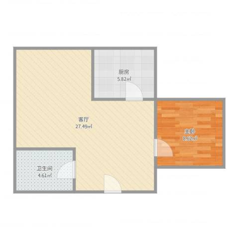 普君大厦1室1厅1卫1厨62.00㎡户型图
