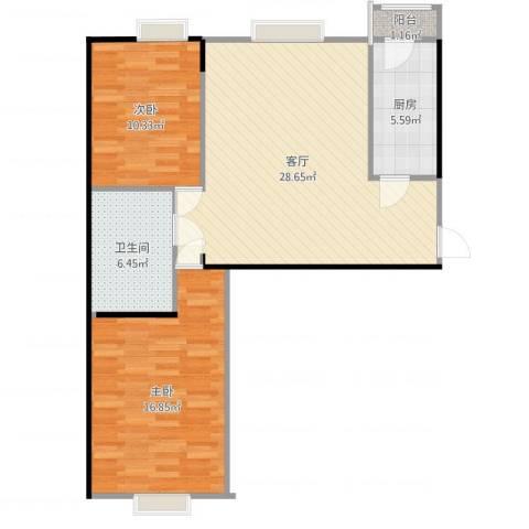 小镇西西里2室1厅1卫1厨86.00㎡户型图