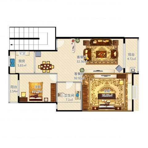 湖畔佳苑2室2厅1卫1厨105.00㎡户型图