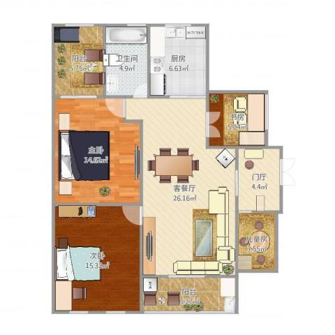 珠江花园4室2厅1卫1厨115.00㎡户型图