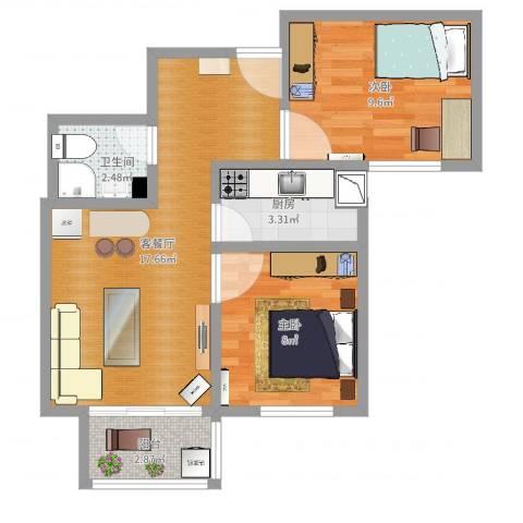 世贸天街2室2厅1卫1厨55.00㎡户型图