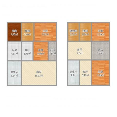 馨泓花园5室4厅2卫1厨121.00㎡户型图