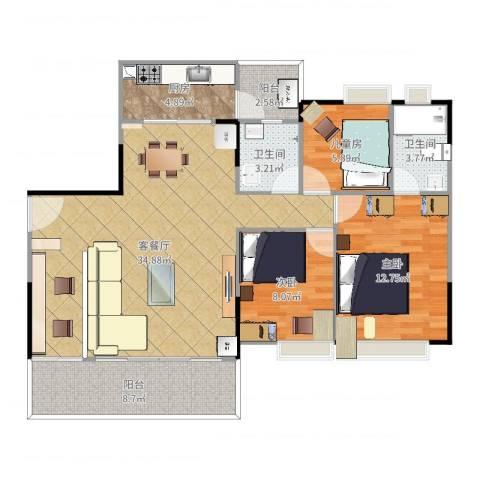 九洲花园3室2厅2卫1厨106.00㎡户型图