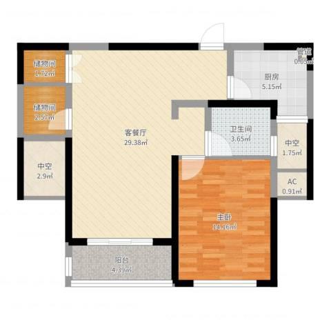 康桥半岛秀溪公寓1室2厅1卫1厨83.00㎡户型图