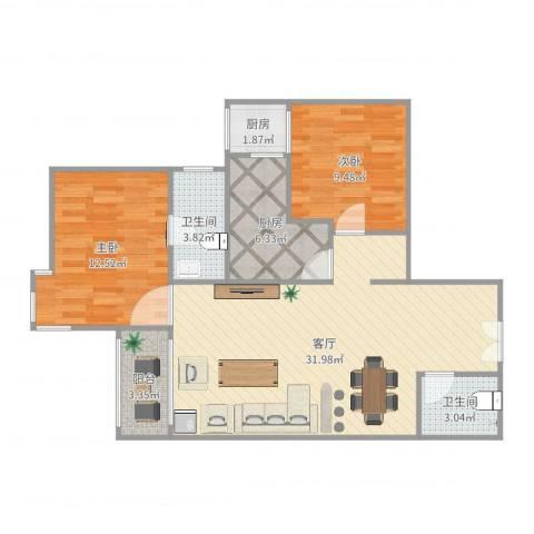 北苑家园绣菊园2室1厅2卫2厨90.00㎡户型图