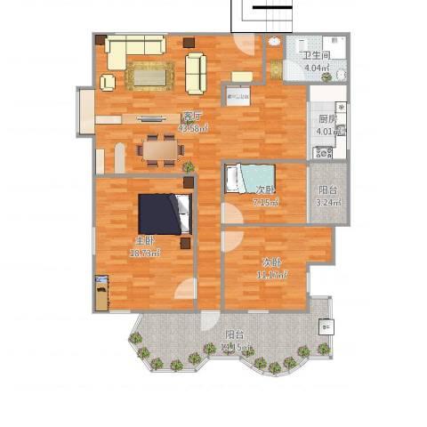 禺秀园3室1厅1卫1厨133.00㎡户型图