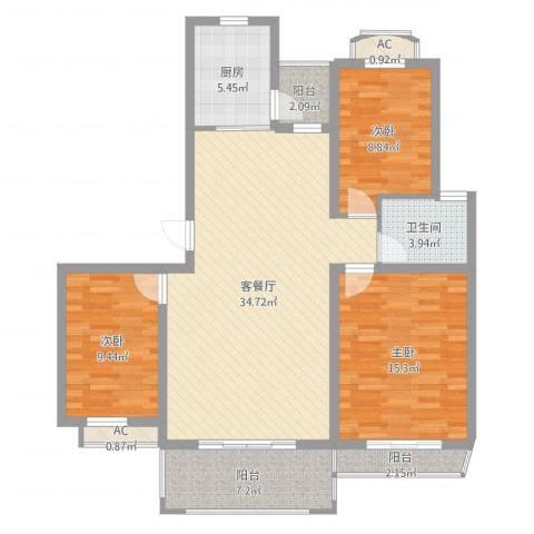 万科外国语学校宿舍3室2厅1卫1厨114.00㎡户型图