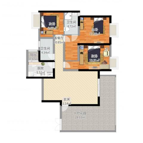 锐力领峰3室2厅2卫1厨163.00㎡户型图