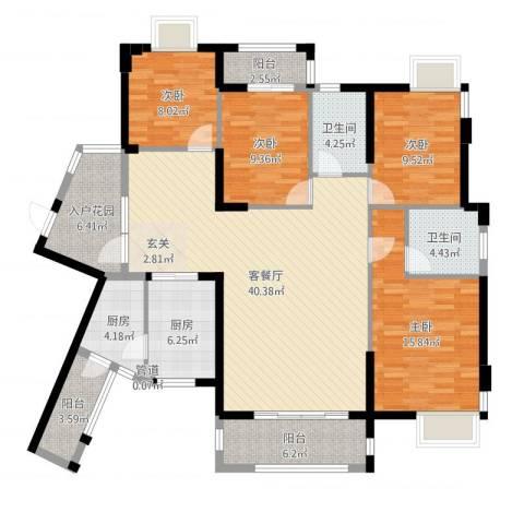 黄金大厦4室2厅2卫2厨151.00㎡户型图