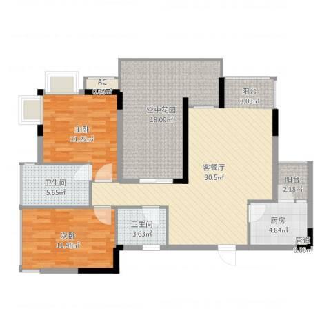 帝豪丽都2室2厅2卫1厨110.00㎡户型图