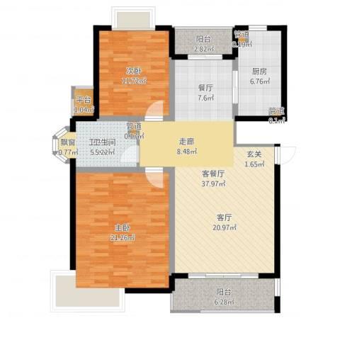 越湖名邸2室2厅1卫1厨118.00㎡户型图