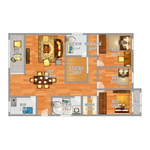 银河湾3室1厅2卫1厨58.00㎡户型图
