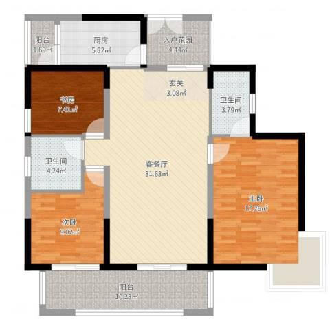中港城3室2厅2卫1厨119.00㎡户型图