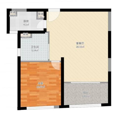 香梅花园五期1室2厅1卫1厨73.00㎡户型图