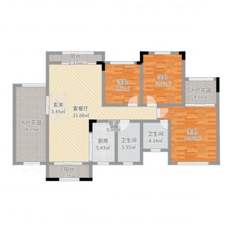 宝香居3室2厅2卫1厨139.00㎡户型图