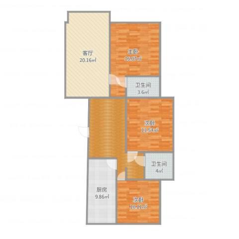 沈阳月星国际城3室1厅2卫1厨116.00㎡户型图