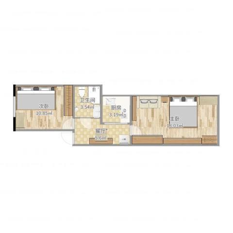 松山小区2室1厅1卫1厨41.22㎡户型图