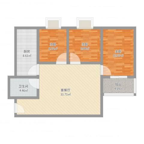 龙泉花园3室2厅1卫1厨100.00㎡户型图