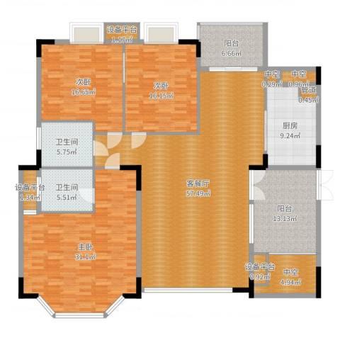丽日豪庭3室2厅2卫1厨215.00㎡户型图