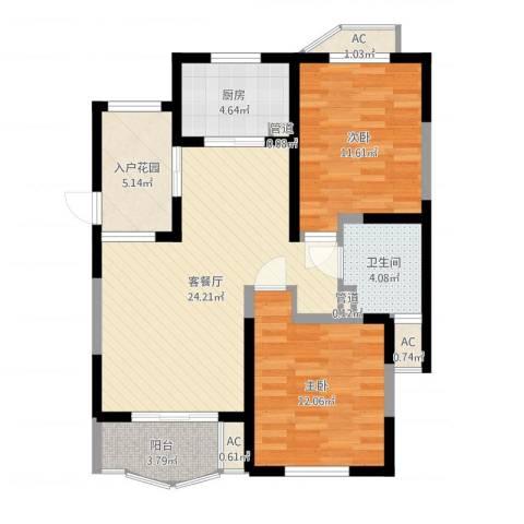 欧洲豪庭2室2厅1卫1厨85.00㎡户型图