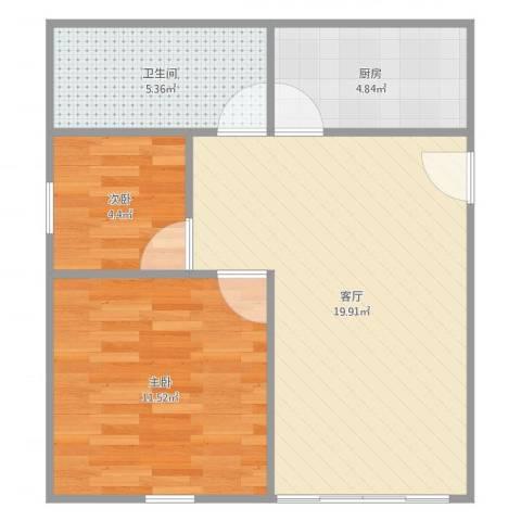 水语人家南苑2室1厅1卫1厨58.00㎡户型图