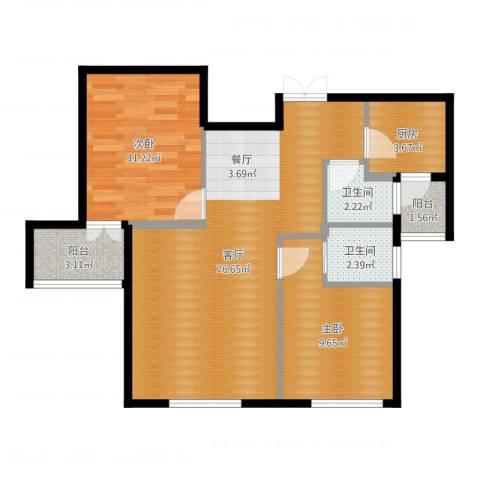 华茂品江2室1厅2卫1厨76.00㎡户型图