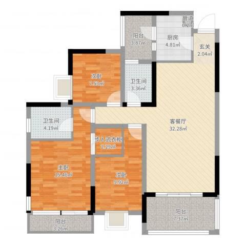云天锦绣前程3室2厅2卫1厨94.55㎡户型图