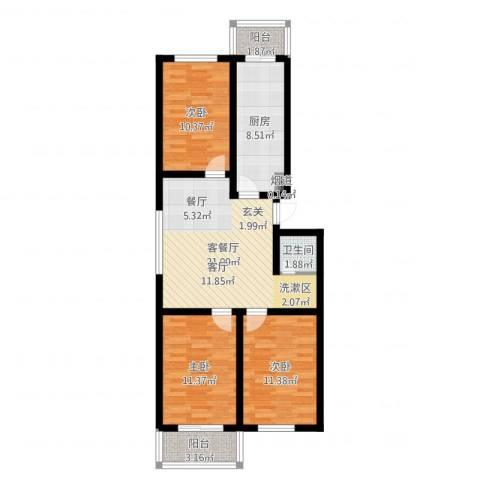 北京悦3室2厅1卫1厨87.00㎡户型图