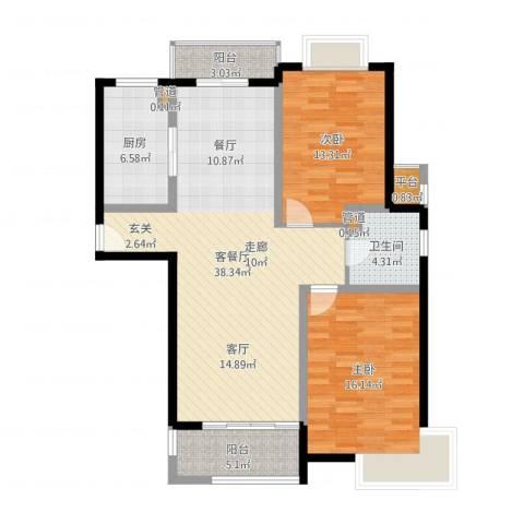 越湖名邸2室2厅1卫1厨110.00㎡户型图