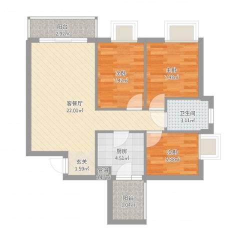 铂林国际公寓3室2厅1卫1厨70.00㎡户型图