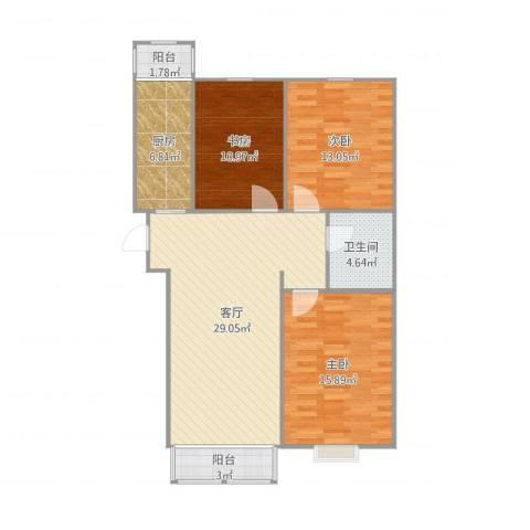 顺鑫・山语溪3室1厅1卫1厨113.00㎡户型图