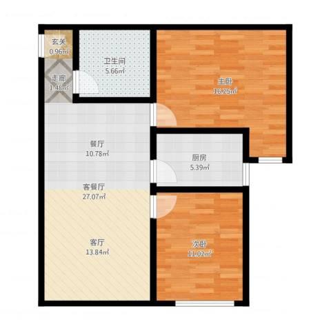天赐康缘新区2室2厅1卫1厨82.00㎡户型图