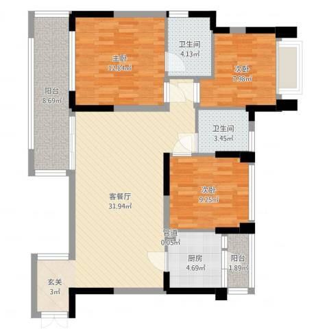 中港城3室2厅2卫1厨106.00㎡户型图
